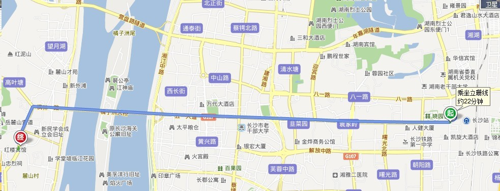 长沙火车站到岳麓山公交车路线图