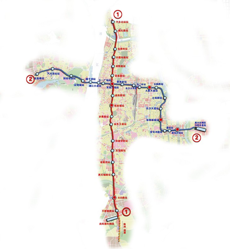 长沙地铁2号线线路图 长沙地铁二号线线路图