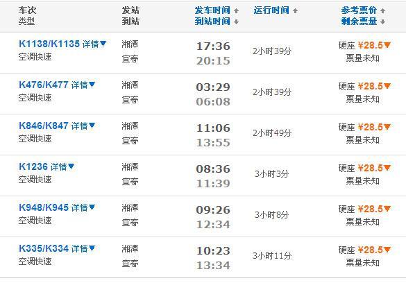 湘潭到宜春火车及动车时刻表