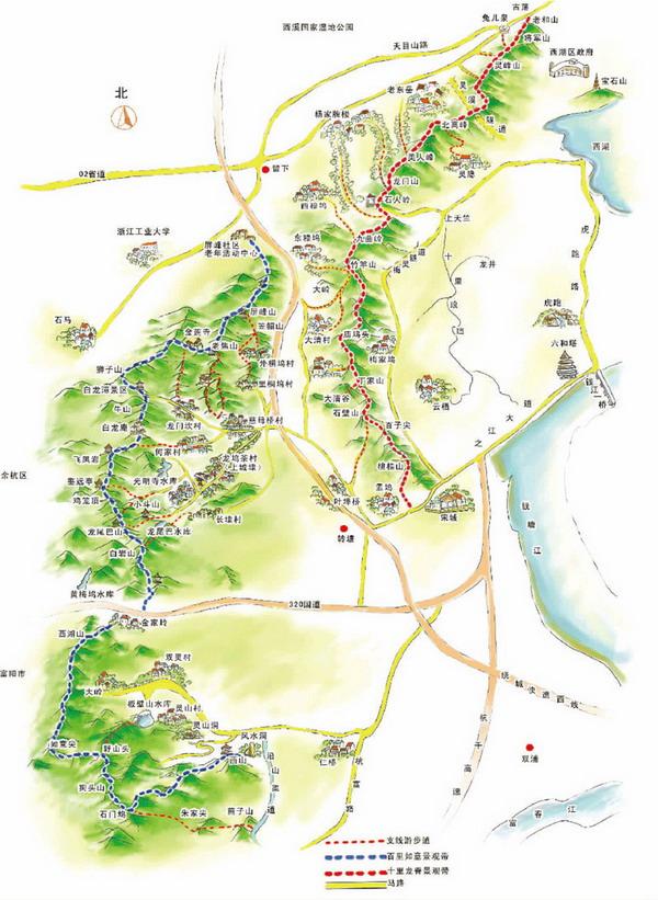 杭州登山线路图_杭州西湖