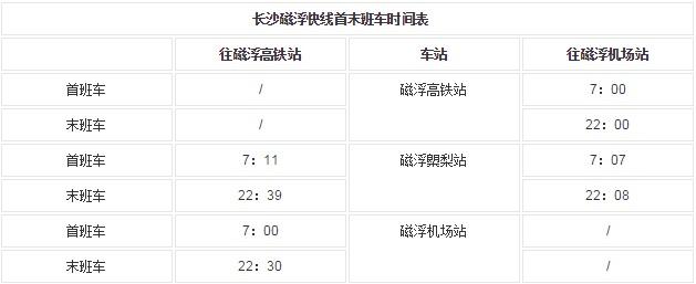 2019长沙南磁悬浮营运时间,长沙高铁南站到黄花机场磁悬浮列车运营时间和票价(含行车间隔、首末班车时间)